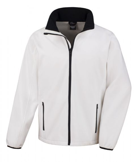 WHITE WITH BLACK RESULT SOFT-SHELL JACKET